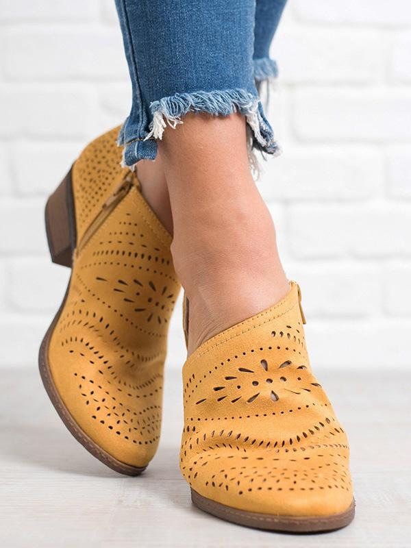 Hollow Chunky Low Heel Casual Shoes