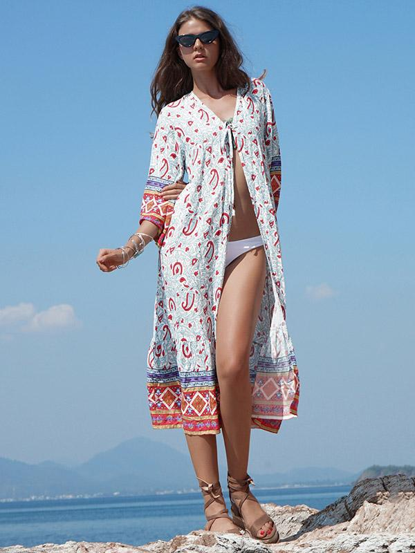 Sun-protected Printed Beach Long Cover-ups