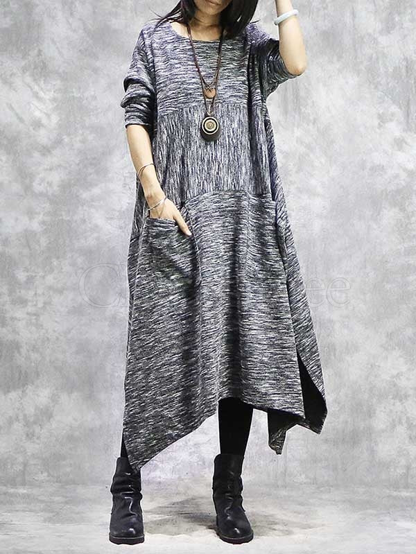 Loose Irregular Stitching Kniting Dress