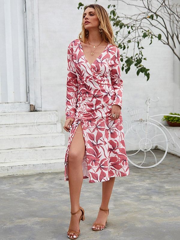 Pretty Printed Split V-neck Midi Dress