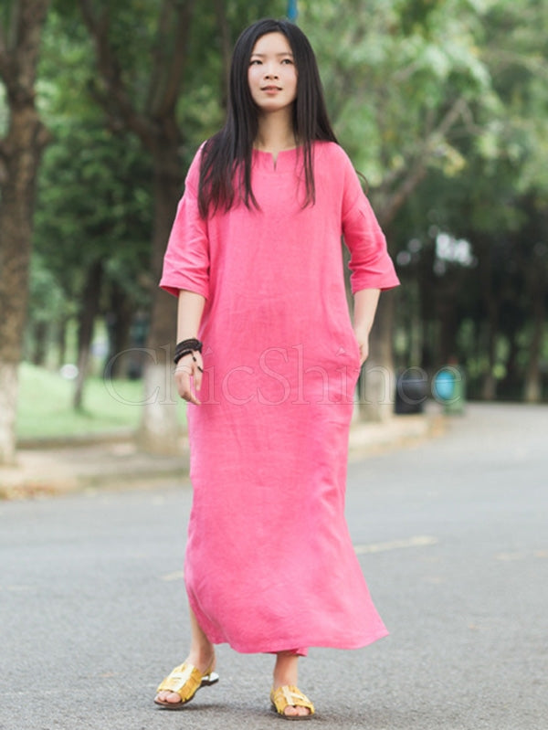 Retro Solid Ramie Cotton Split-side Maxi Dress