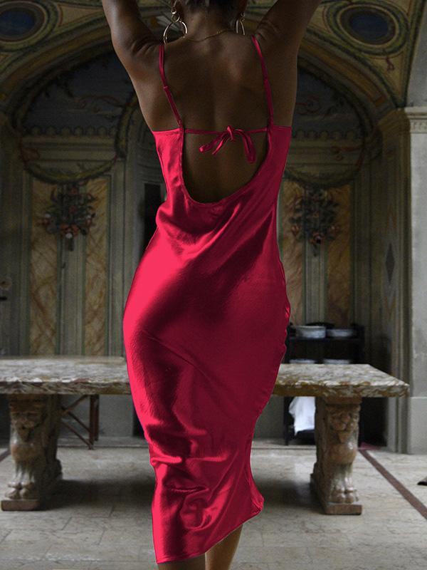 Solid Backless Maxi Dresses