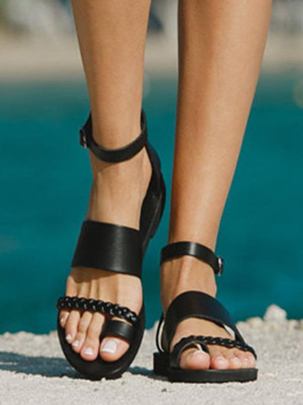 Black Low Heel Beach Open-toe Flat Sandals