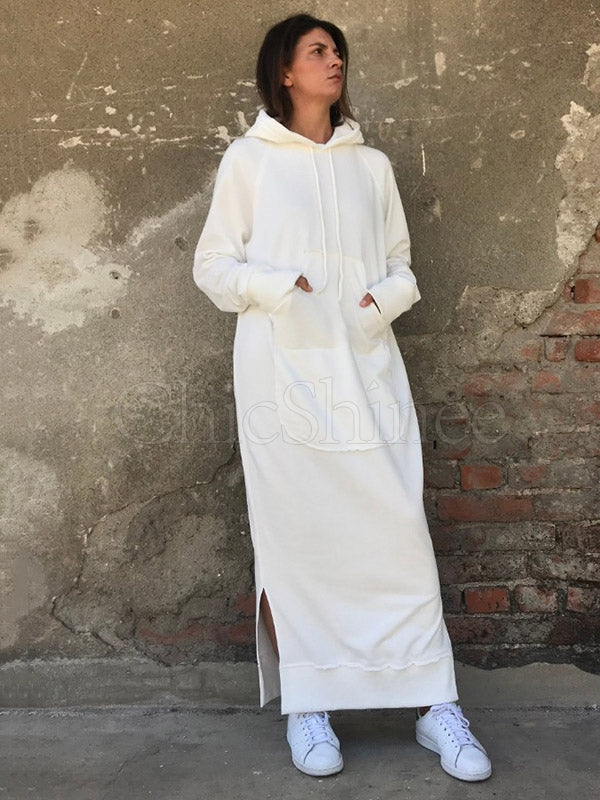 Simple White Split-Side Long Hoodie Dress