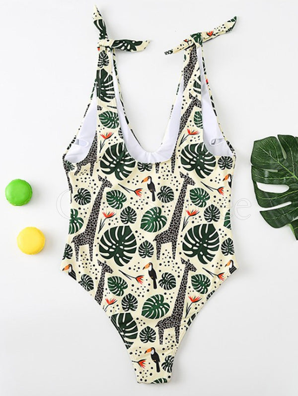 Deep V-Neck Shoulder Bandage Forest Print One-Piece Swimwear
