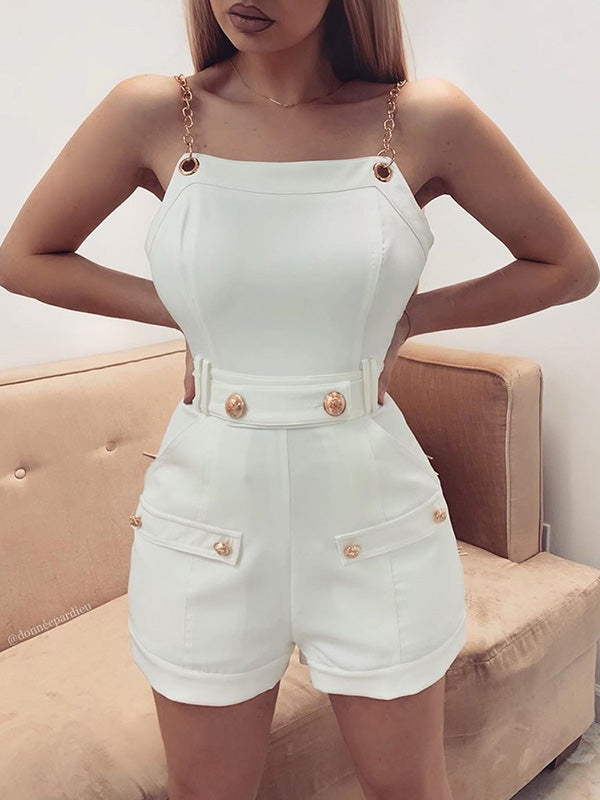 Fashion White Metal Chain Romper