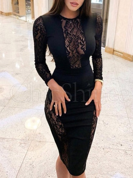 Sexy Hollow Lace Collect Waist Evening Dress