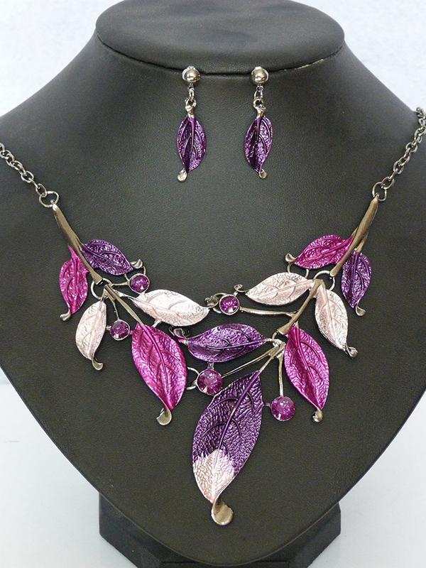 Pretty Leaf Pattern Earrings&Necklaces