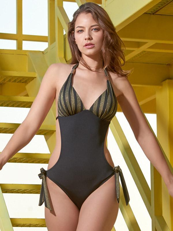 Halter-neck Knot Side One-piece Swimwear