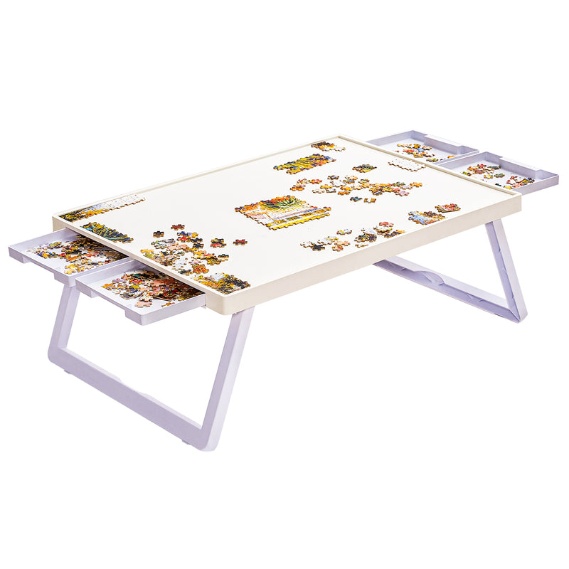 "Standard Size: 29"" x 21"", Plastic Puzzle Board, Puzzle Table, Puzzle Tables for Adults, Puzzle Table, Puzzle Tray with Foldable Legs"
