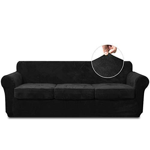 RHF Velvet Couch Cover 4 Piece Sofa Cover Sofa Slipcover-Couch Covers for 3 Cushion Couch,3 Separate Cushion Cover