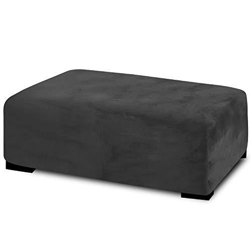 RHF Velvet Ottoman Slipcovers Stretch Fabric Rectangle Folding Storage Ottoman Covers Footrest Rectangle slipcover with Elastic Bottom