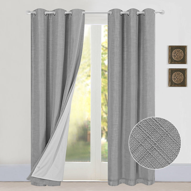 Rose Home Fashion 100% Blackout Thermal Insulated Curtains, Burlap Curtains