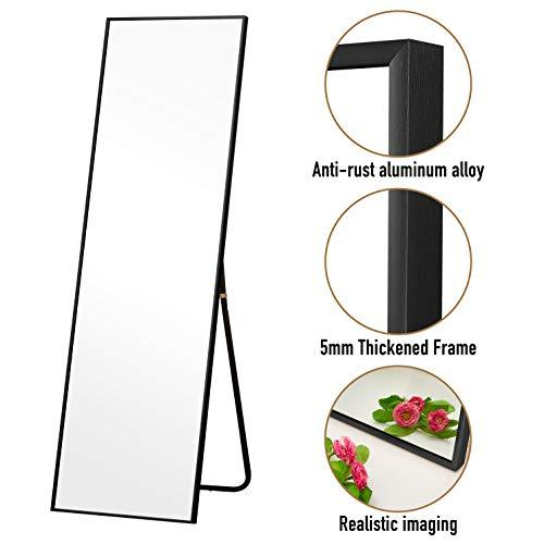 Rose Home Fashion Aluminum Alloy Thickened Frame-59 x16, Full Length Mirror, Floor Mirror, Standing Mirror, Full Body Mirror, Large Mirror, Floor Length Mirror, Wall Mirror, Black Aluminum Frame
