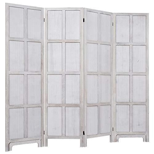 "RHF 6 Ft.Tall Room Divider with Stand,19"" Each Panel,Rustic Folding Privacy Screens,Heavy Duty Partition Wall Dividers, Room Separator, Temporary Wall, Screen Panel with Feet, 4 Panel"