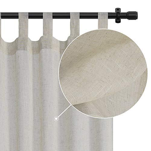 Rose Home Fashion Sheer Curtains Faux Linen Textured Curtains Tab Top Drapes for Living Room & Bedroom, Burlap Curtains Window Treament for Farmhouse-Set of 2 Panels