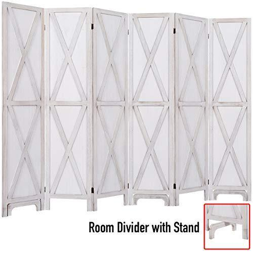 "5.6 Ft.Tall Room Divider with Stand,16"" Each Panel,Rustic X Folding Privacy Screens,Heavy Duty Partition Wall Dividers, Room Separator, Temporary Wall, Screen Panel with Feet, 4 Panel, 6 Panel, Two Colors"