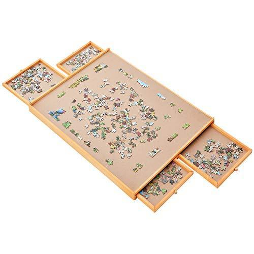 "Jumbo Size: 34""x26"" for Maximum 1500 Pieces Puzzles, Puzzle Board, Puzzle Table, Puzzle Tables for Adults, Puzzle Boards and Storage, Jigsaw Puzzle Table, Puzzle Tray, Weight: 2.0 LBS (5 KGS)"