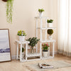 Rose Home Fashion Solid Pine Wood Plant Stand, Plant Stands Indoor, Outdoor Plant Stand, Plant Shelf, Plant Stands, Antirust Screws, White,Overall Size: 33×34 Inch