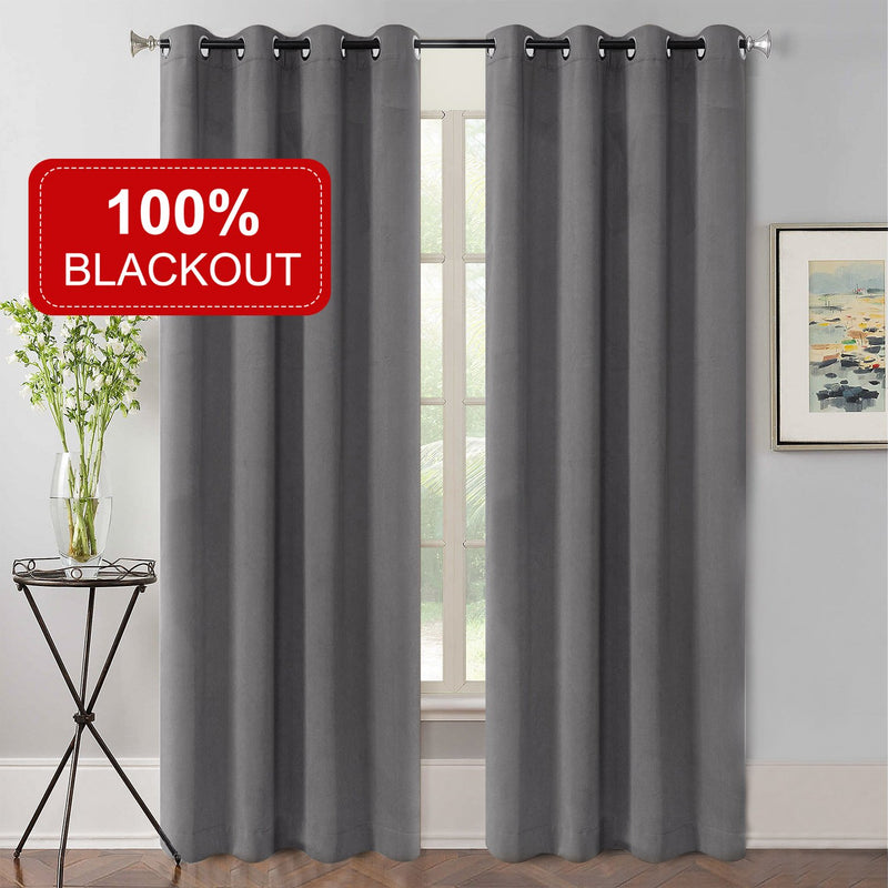 Rose Home Fashion 100% Blackout Super Soft Velvet Curtains