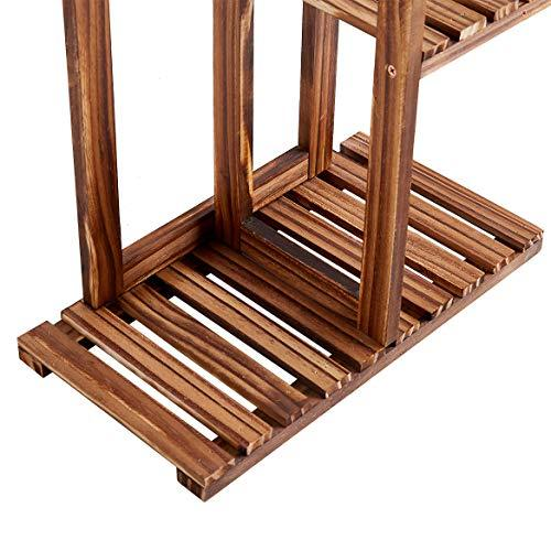 Rose Home Fashion Solid Pine Wood Plant Stand, 7 Tier 8 Potted, 57 Inch, Plant Stands Indoor, Outdoor Plant Stand, Plant Shelf, Plant Stands, Antirust Screws, Fit for 8 Flowerpots