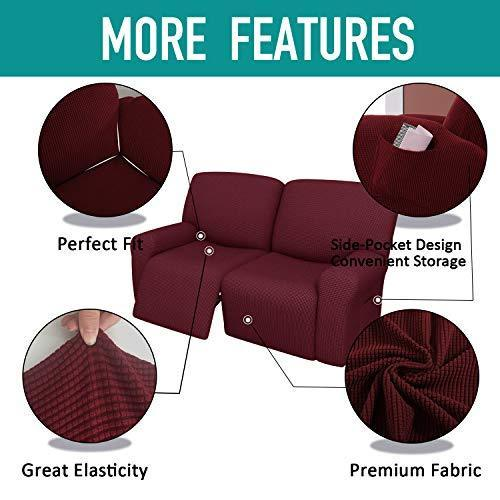 6 Pieces Jacquard Recliner Sofa Slipcover Recliner Couch Cover