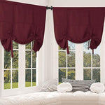 Rose Home Fashion Tie Up Curtain Blackout Curtains Balloon Window Innovated Tie Up Shades Thermal Insulated Rod Pocket Curtain for Windows (2Pieces)