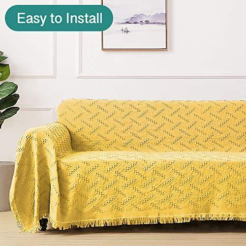 RHF Geometrical Sofa Cover, Couch Cover, Couch Covers for 3 Cushion Couch, Couch Covers for Sofa, Sofa Covers for Living Room, Couch Covers for Dogs, Couch Protector(Large:Yellow)