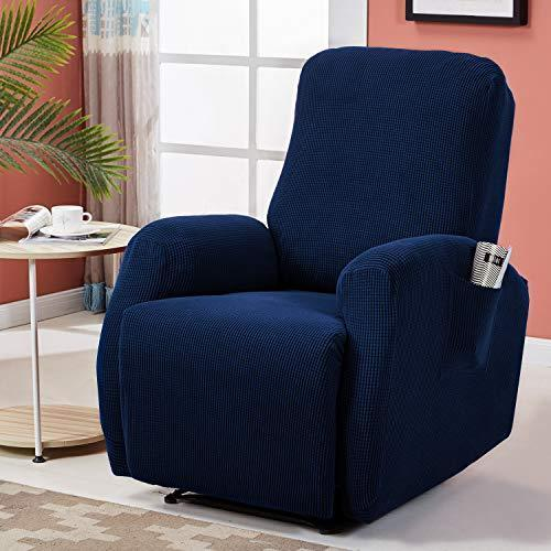RHF 4 Separate Piece Stretch Recliner Slipcovers, Recliner Chair Cover, Recliner Cover with Side Pocket