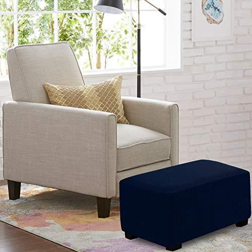 RHF Ottoman Slipcovers Stretch Fabric Rectangle Folding Storage Ottoman Covers Footrest Rectangle slipcover with Elastic Bottom