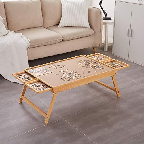 Puzzle Board, Puzzle Table, Puzzle Tables for Adults and Teens, Puzzle Boards and Storage Puzzle Wooden Plateau Lounger with Cover-Smooth Fiberboard Work Surface - Puzzle Storage System, Size S