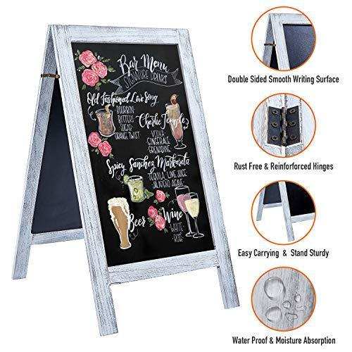 "RHF Extra Large 40""x22"" Chalkboard Sign, Handcrated A Framed Chalk Board Sign,Sandwich Black Board,Rustic Wedding Signs,Chalkboard Easel,Sidewalk Sign,Double Sided Message Board,Free Standing"