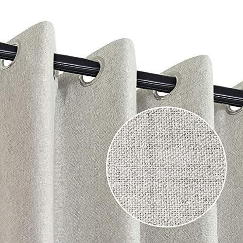 Rose Home Fashion 100% Blackout Curtains for Bedroom, Primitive Linen Look