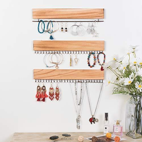 RHF Jewelry Organizer Wall Mounted Set of 3, Wood Hanging Jewelry Holder, Necklace Holder,Bracelets Hook Rings Racks,Earring Bar, Rustic Wood & Metal Organizer, 16 Inch with 54 Hooks