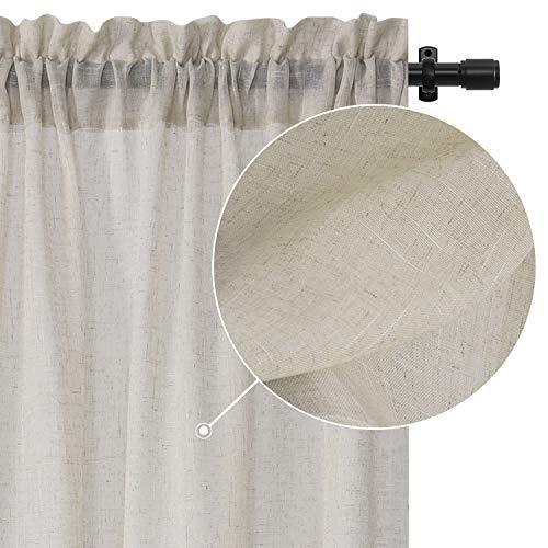 Rose Home Fashion Curtains for Bedroom Faux Linen Textured Solid Sheer Curtain Panels, Burlap Curtains-Set of 2 Panels