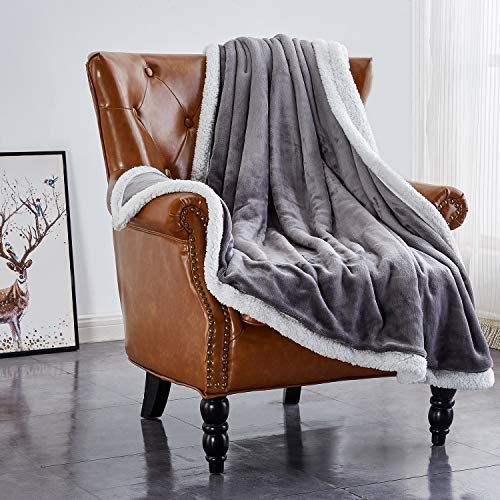 Rose Home Fashion Sherpa Fleece Blanket Solid Color Double Layers Fuzzy Blanket