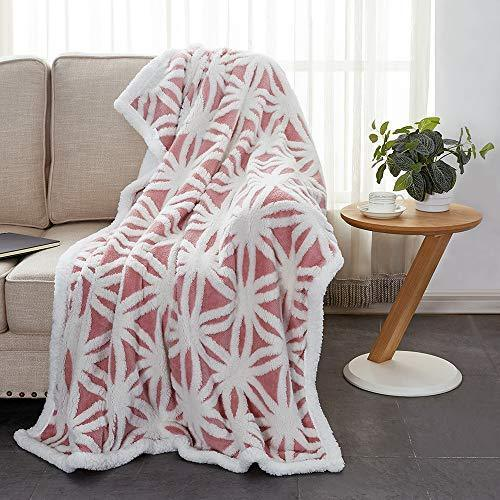 Rose Home Fashion Super Warm Geometric Pattern Sherpa Fleece Throw Blanket