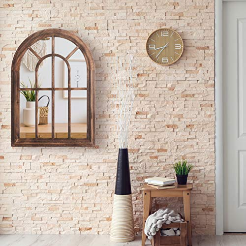 "Rose Home Fashion RHF Mirror,Decorative Torched Wall Hanging Mirror,Rustic Wood Frame Arch Mirror, Boho Wall Decor, Farmhouse Decor, 20"" by 27.5"""