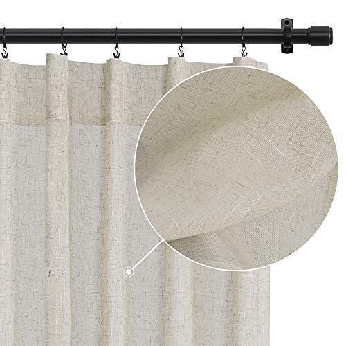 Rose Home Fashion White Curtains Faux Linen Curtains Light Filtering Solid Drapes Window Treatment for Farmhouse, Burlap Curtains with Clip Rings for Bedroom-Set of 2 Panels(50x96 White)