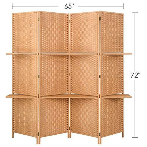 RHF 6 ft.Tall-Extra Wide Diamond Weave Fiber Panels Room Divider, Panel Folding Screen Privacy, Partition Wall, Room Dividers with 2 Display Shelves