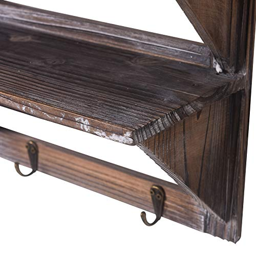 RHF Rustic Shelves Bathroom Shelf Over Toilet Wood Wall Mounted Shelves for Bathroom Floating Shelves Wall Shelves 2 Hooks 2-Tier,Hanging Shelf Organiser Rack, Bathroom Decor