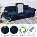 RHF Velvet Cushion Cover Stretch Couch Cushion Covers Cushion Slipcovers Furniture Protector for Sofa Cushion Easy Fitted (3-Piece Cushion Cover,Navy)