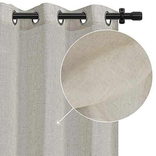 Rose Home Fashion White Curtains Faux Linen Textured Grommet Drapes for Living Room & Bedroom, Burlap Curtains Window Treatment for Farmhouse-Set of 2 Panels(50x96 White)
