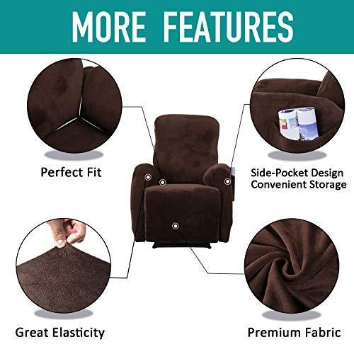 Rose Home Fashion RHF 4 Separate Piece Velvet Recliner Slipcovers, Recliner Chair Cover with Side Pocket
