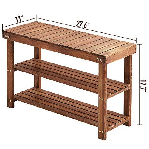 Rose Home Fashion Shoe Bench,Solid Pine Wood Shoe Rack Bench,Shoe Organizer 3 Tier Holds Up to 300 Lbs,Can Sit, Rustic Grain Shoe Rack Entryway,