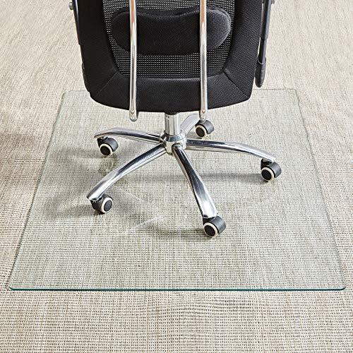 Tempered Glass Chair Mat, 36inch¡Á46inch, 1/5 Inch Thick Office Chair Mat Carpet & Hardwood Floor, Chair Mats for Carpeted Floor, Chair Mat for Hardwood Floor, Desk Chair Mat, 4 Anti-Slip Pads