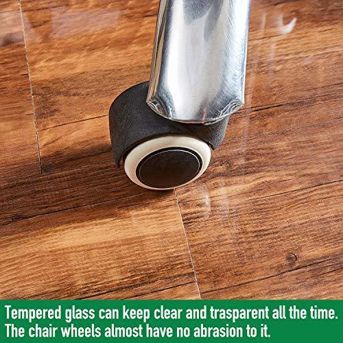 Tempered Glass Chair Mat, 36inch×46inch, 1/5 Inch Thick Office Chair Mat Carpet & Hardwood Floor, Chair Mats for Carpeted Floor, Chair Mat for Hardwood Floor, Desk Chair Mat, 4 Anti-Slip Pads