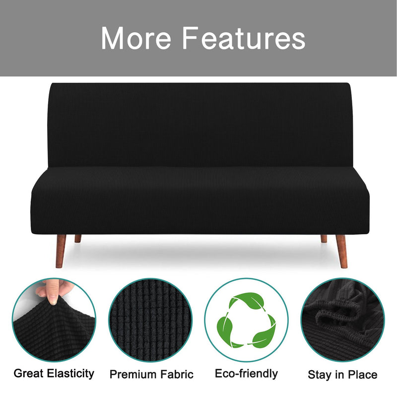 RHF Jacquard-Stretch Futon Slipcover Futon Cover Sofa Slipcover Without Armrests Armless Sofa Cover Sofa Bed Cover Furniture Protector for Futon