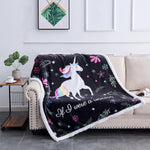 Rose Home Fashion Sherpa Microfiber Cartoon Unicorn Blanket, Unicorn Gifts