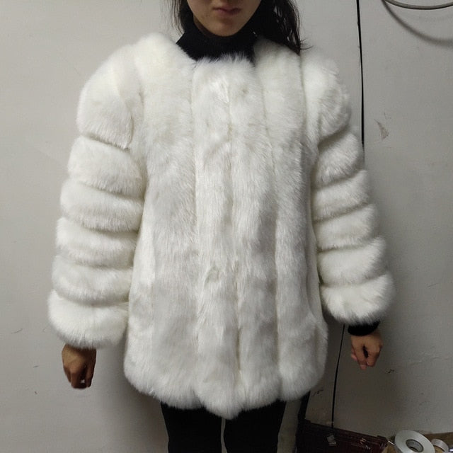 New Autumn Winter Fur Coat Women Clothes High Quality faux fox  Fur overcoat Plus Size Thicken Warm Long Coats Female